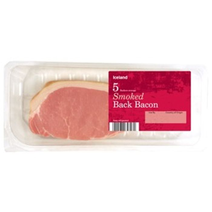 Iceland 7 Day Deal 167g 5 Rashers Smoked Back Bacon 67p Was £1.