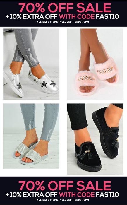 70% off Footwear Sale plus Extra 10% off with Code