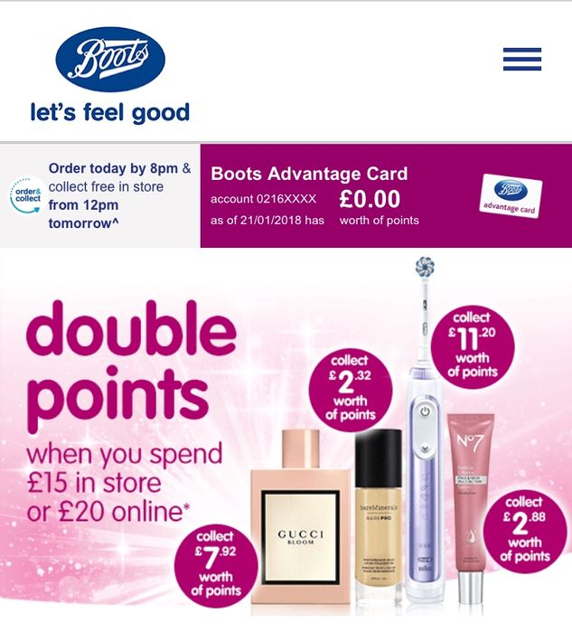 Double Points Instore and Online at Boots (Minimum Spend Applies)
