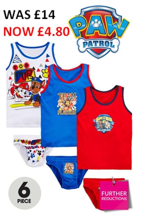 PAW PATROL Boys 6 Piece Vest and Brief Set