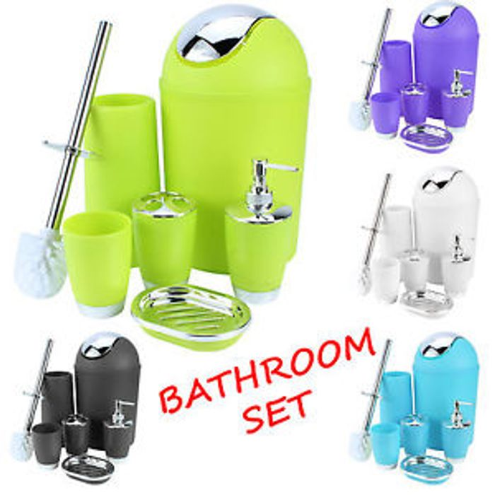 Bathroom Set 6 Piece Accessory Bin Soap Dish Dispenser Tumbler Toothbrush Holder