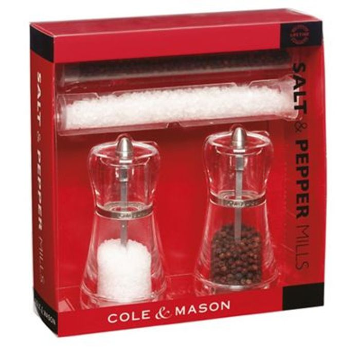 Cole & Mason - Acrylic 'Napoli' Salt & Pepper Mill Set. FREE DELIVERY with CODE