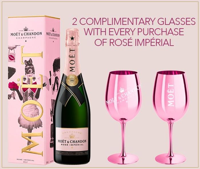 Get 2 FREE Glasses with Every Bottle of Moet Rosé Valentine's Edition