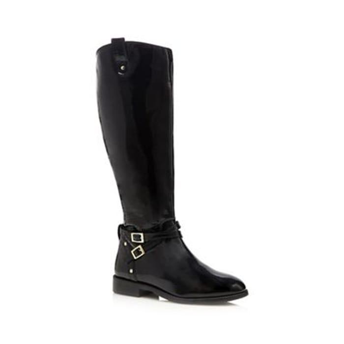 Faith - Black Patent 'Millie' Calf Length Boots