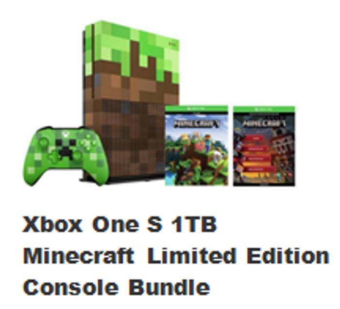 Bundle Xbox One S 1tb Minecraft Limited Edition Console 249 99