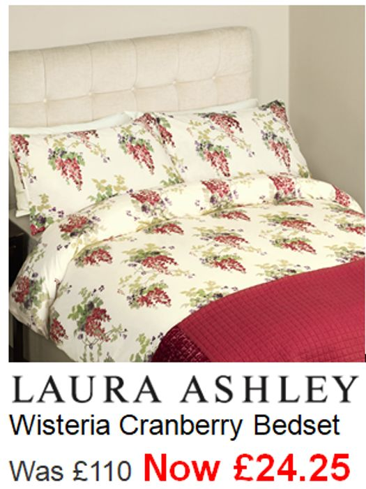 Laura Ashley Wisteria Cranberry Bedset KING SIZE Was £110. Now £24.75 BARGAIN!