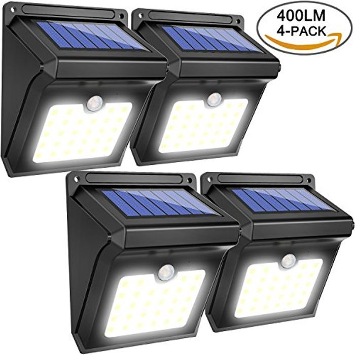 BAXiA Solar Lights Outdoor, Bright LED Solar Powered Security Lights,Waterproof