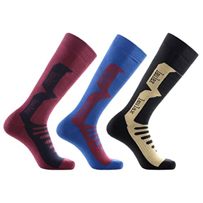 Laulax 3 Pairs Mens Cashmere-like Long Hose Thermal Ski Socks