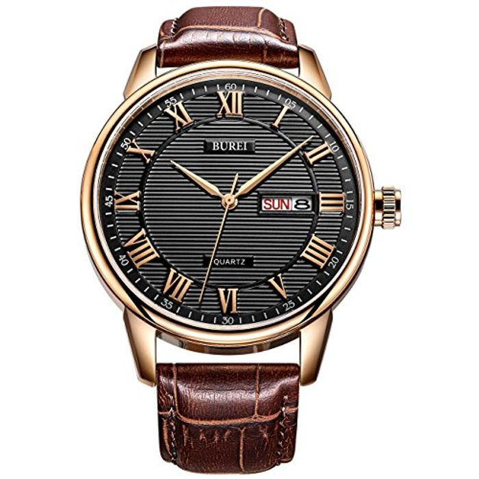 BUREI Classic Day and Date Mens Watch