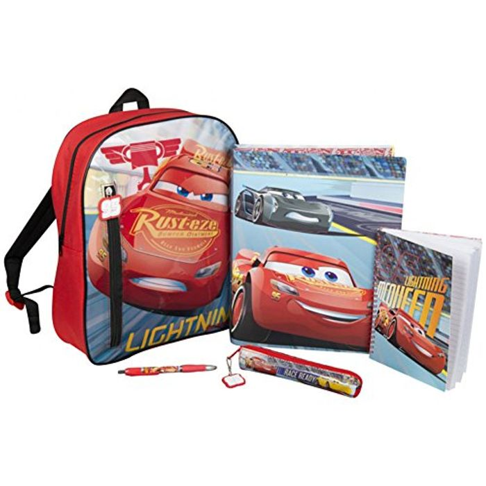 Disney Cars Backpack Filled Set Binder Notepad Pencil Case Pen