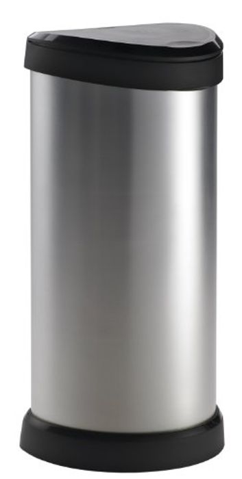 CURVER One Touch Deco Bin, Silver or Red. save £30.