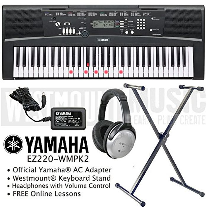 Yamaha Keyboard including AC Adapter, Stand, Headphones and Free Online Lessons
