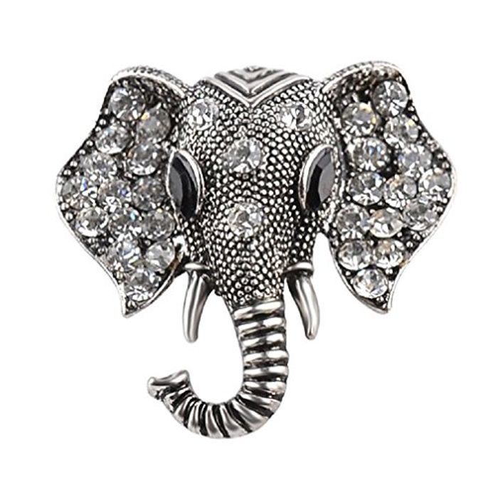 Elephant Antique Style Brooch in Silver or Bronze (Free Delivery)