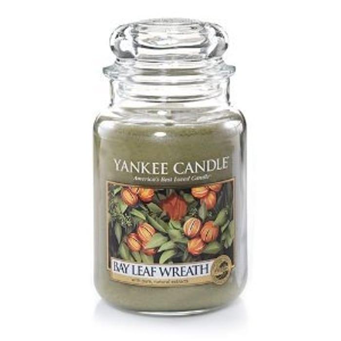 BAYLEAF WREATH YANKEE CANDLE LARGE 22oz/623g £9.99