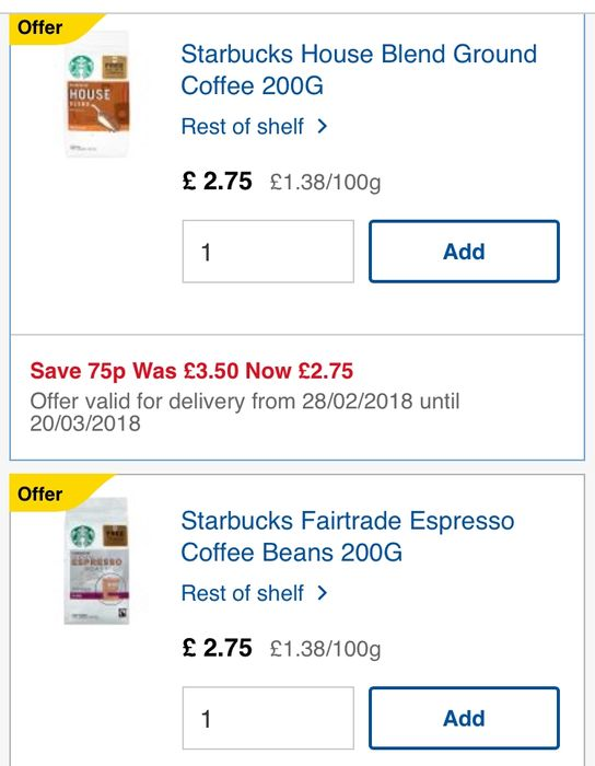 Starbucks Coffee Beans Reduced At Tesco Free Latte Instore