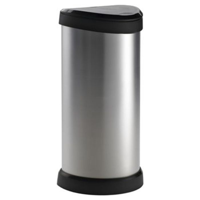 Curver 40L Silver Deco Bin at Tesco