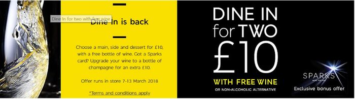 Dine in for 2 with Free Wine