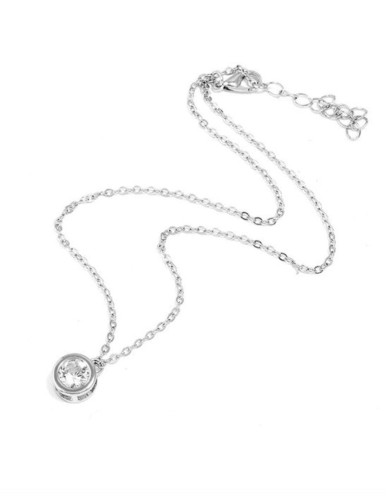 White Gold Plated 'Lustro' Necklace with Swarovski Crystal Solitaire - 75% Off