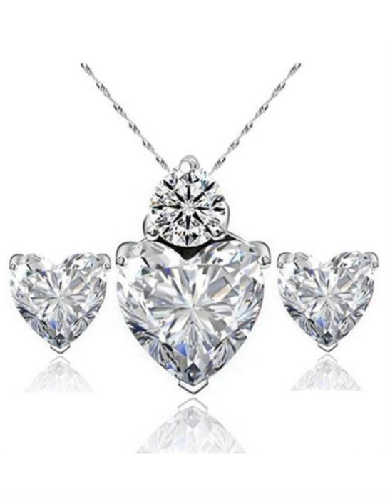 Crystal Hearts Necklace and Earring Set
