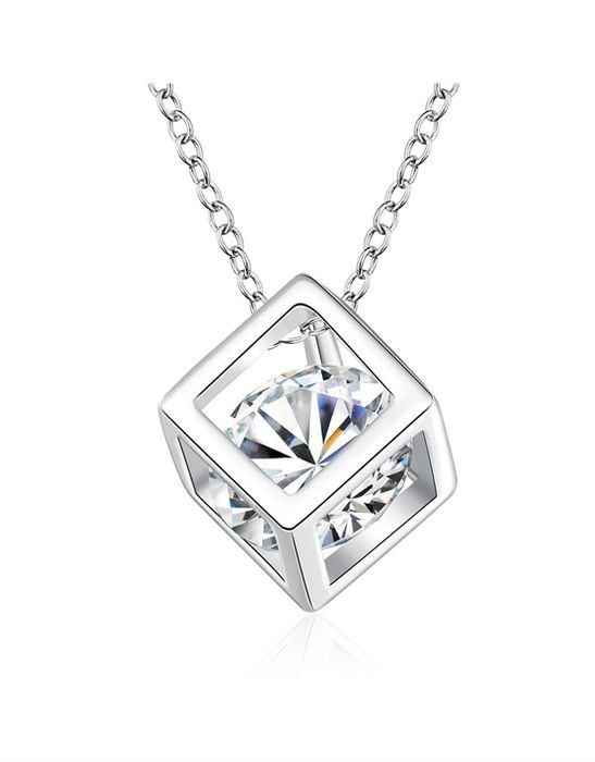 White Gold, Swarovski Crystal Cube Necklace