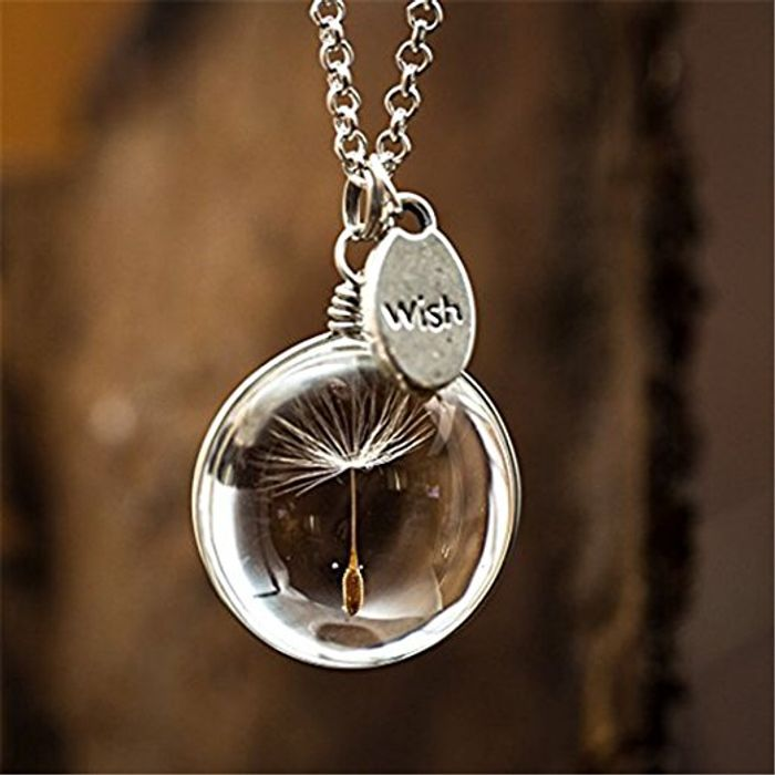 Silver Plated 'Make a Wish' Necklace with Natural Dandelion Seed Glass Ball