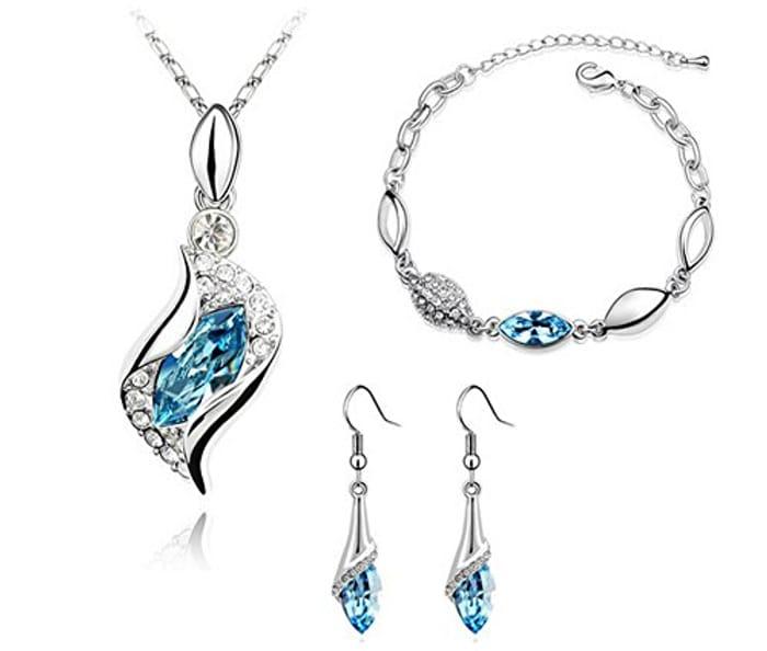 Crystal Jewellery Set - Pendant Necklace, Bracelet & Earrings -5 Colours- £1 P&P