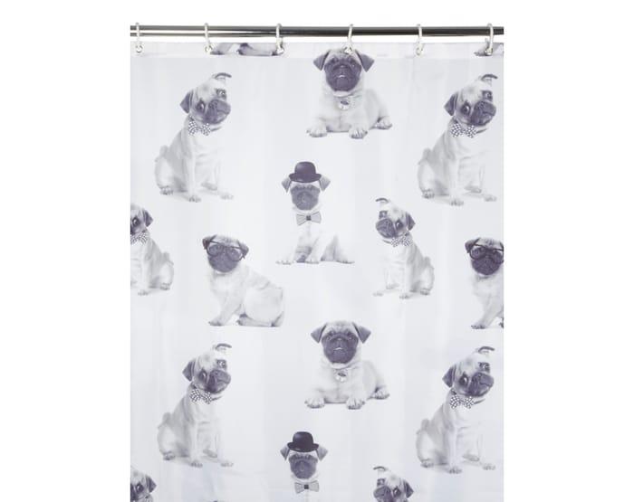 Pug Fabric Shower Curtain