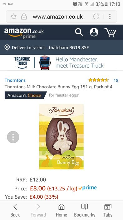 Thorntons Eggs X 4 for Only £8 with Amazon