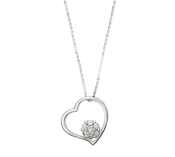 Diamond Cluster Heart Pendant 9ct White Gold