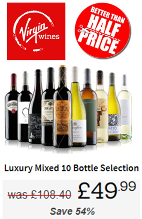 VIRGIN WINES LUXURY MIXED 10 BOTTLE SELECTION - Better than HALF PRICE!