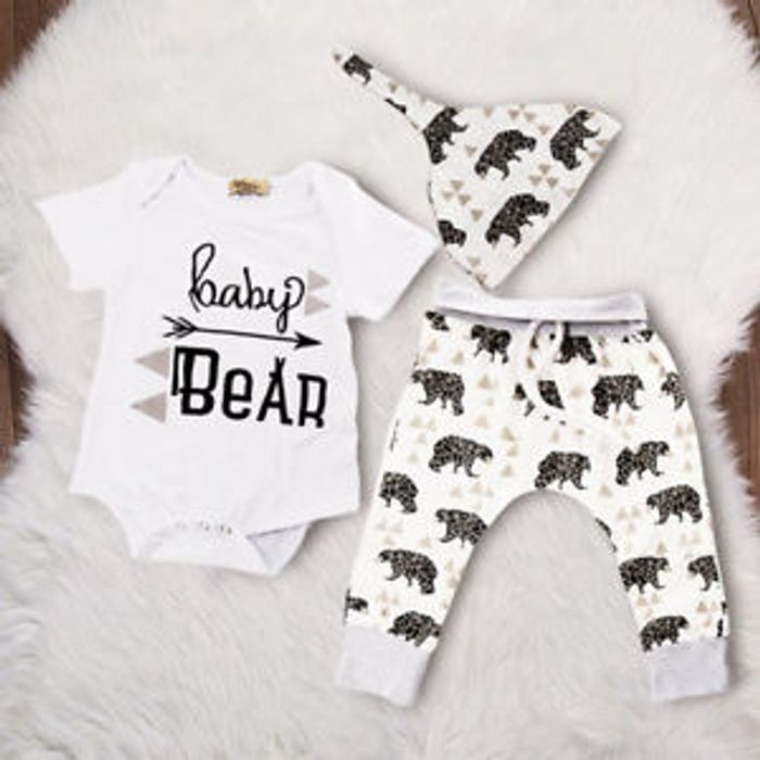 Cute Baby Outfit , Bear Top T-Shirt + Long Pants Clothes Outfits Set 0-24Months