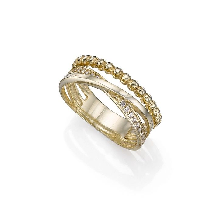 UP to 60% SALE !!! Gold-Plated Encircled Textures Ring £7 Instead of £35