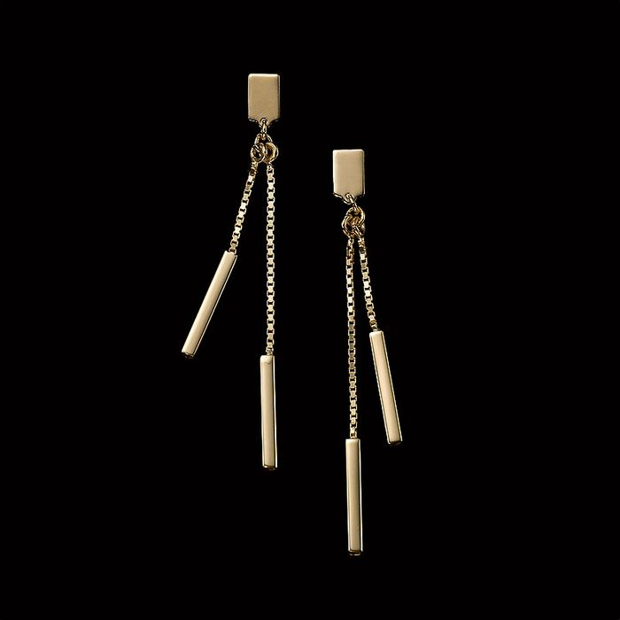 £15 of Long and Short of It Golden Drop Earrings at Pia