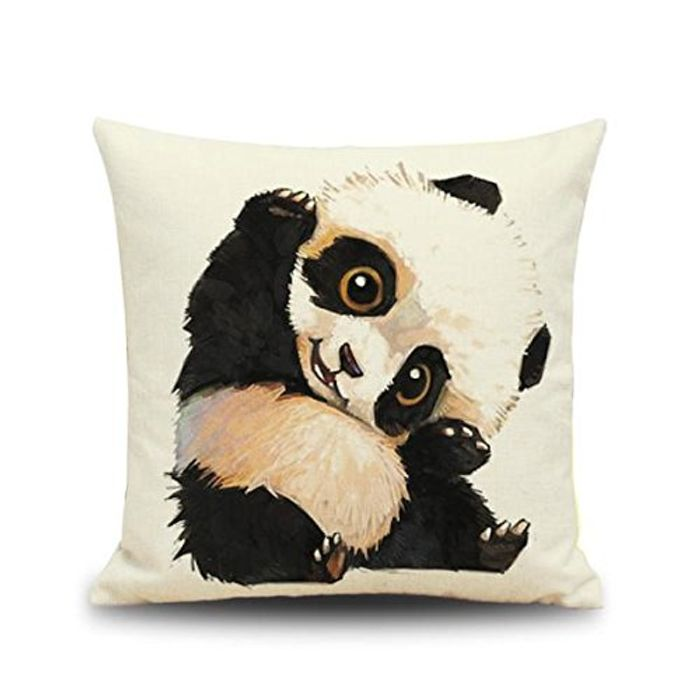 Panda Print - Linen Square Cushion Cover + Free Delivery