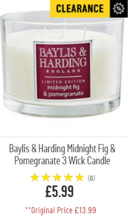 CLEARANCE PRICE Baylis & Harding Midnight Fig & Pomegranate 3 Wick Candle