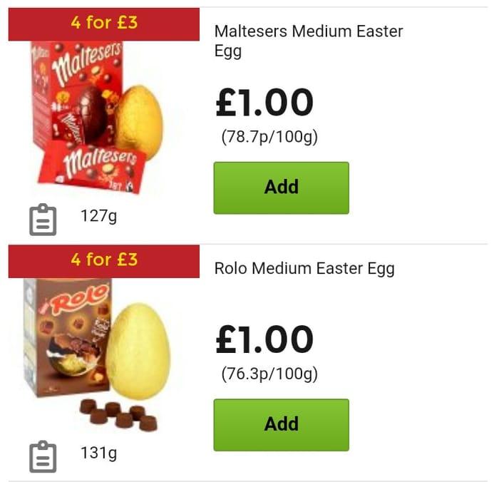 4 for £3 (75p Each) Medium Easter Eggs at Asda