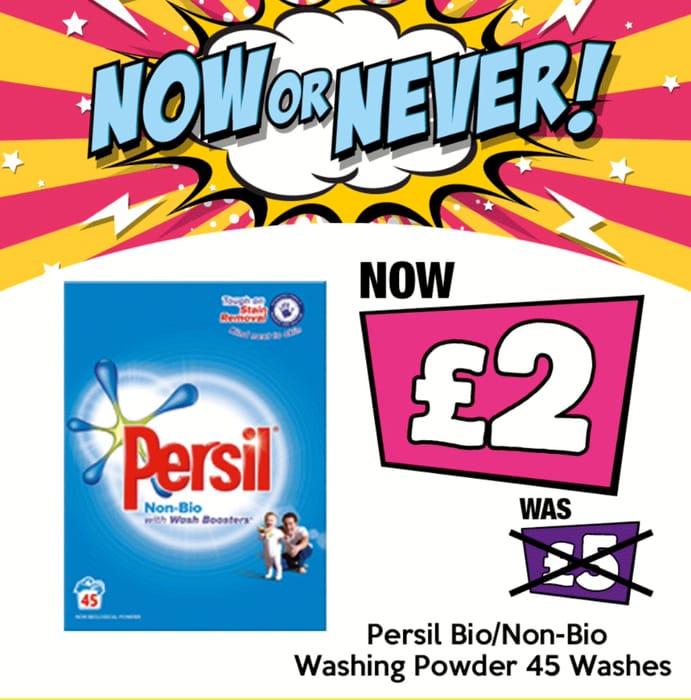 Persil Bio/Non Bio Powder 45 Washes & Bio/Non Bio Small & Mighty 40 Washes