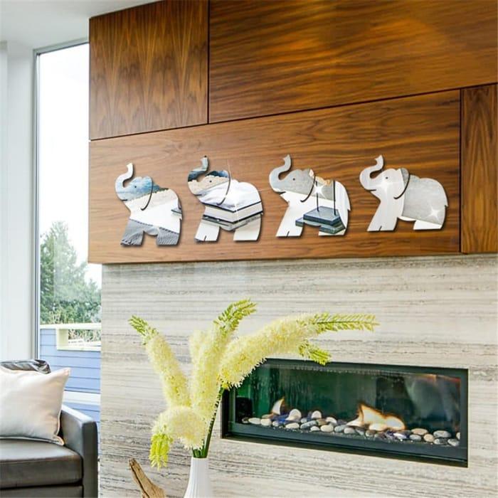 4 Piece Elephant Mirror Stickers