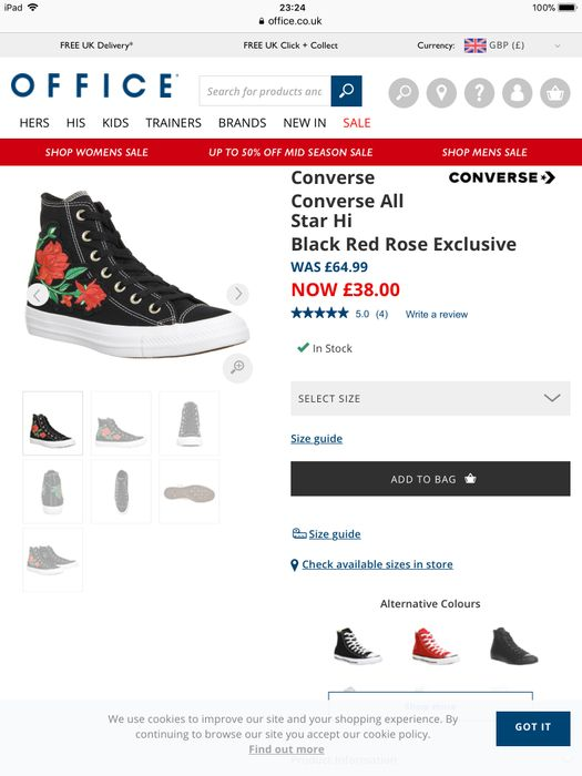 Converse All Star Hi Black Red Rose