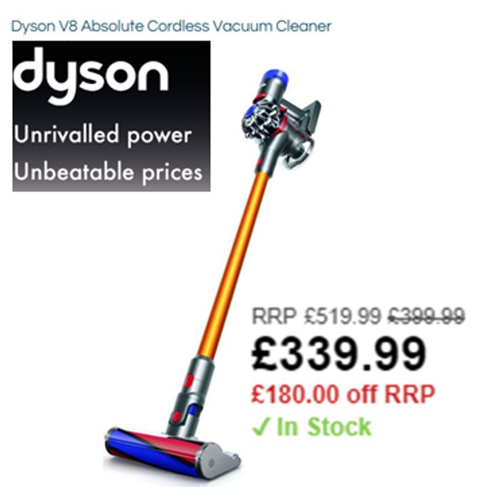 Cheapest UK Price? Dyson V8 Absolute Cordless Vacuum Cleaner £339.99 Robert Dyas