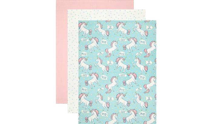 3x Unicorn Print Tea Towels