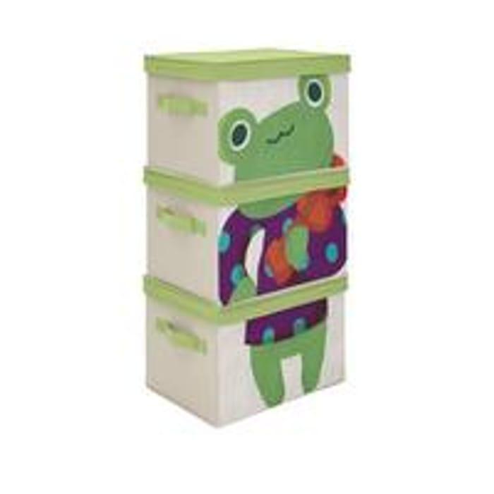 KIDS SET of 3 FROG STORAGE BOXES +Free Postage