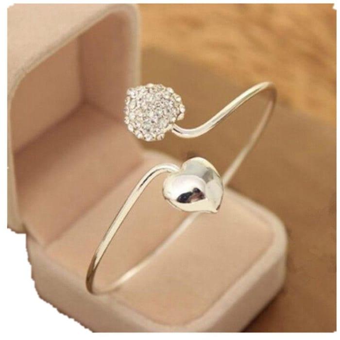 Crystal Double Heart Open Bangles Bracelet