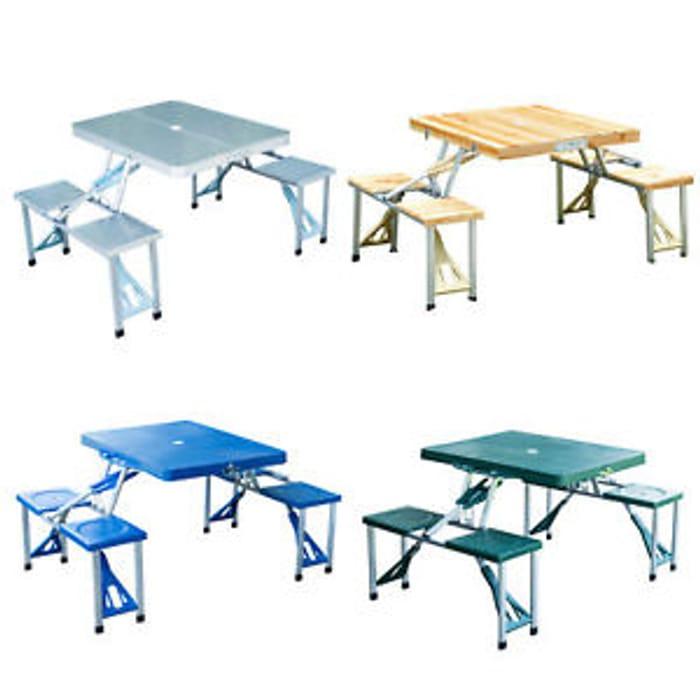 Portable Folding Camping Picnic Table Party Outdoor Garden Chair Stools Set