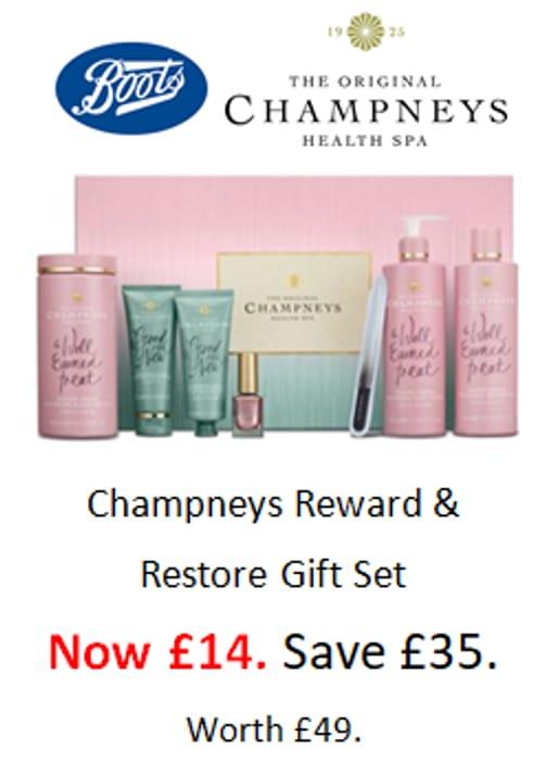 SAVE £35! BOOTS CLEARANCE - Champneys Reward & Restore Gift Set - £14. worth £49