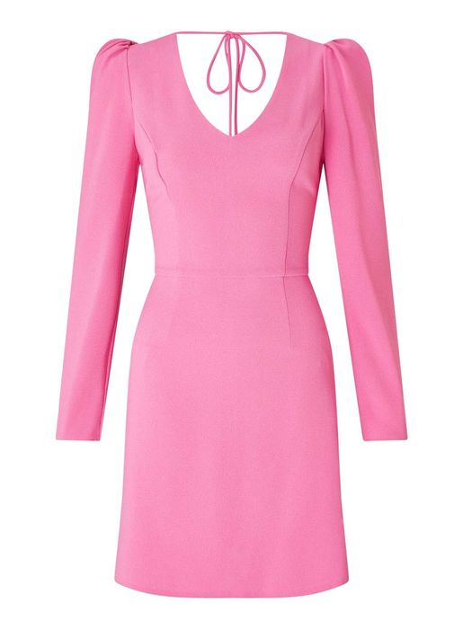 Pink Puff Shoulder Shift Dress
