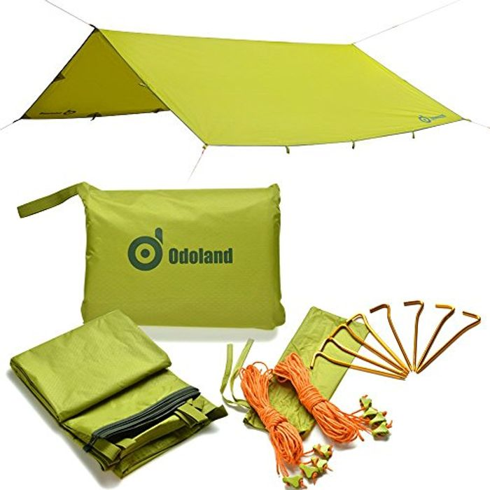 Odoland Sun Canopy – Water Resistant with Tent Linen Spanner Ultra Lightweight