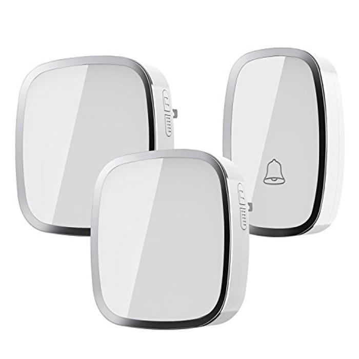 Wireless Doorbell, Weatherproof Wall Plug-in Cordless Door Chime