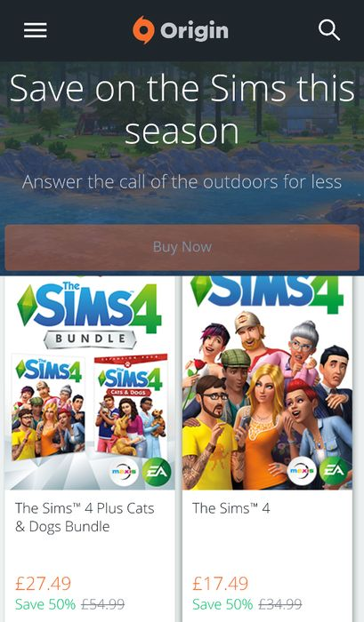 Up to 50% off on the Sims 4 on Origin until April 26th.