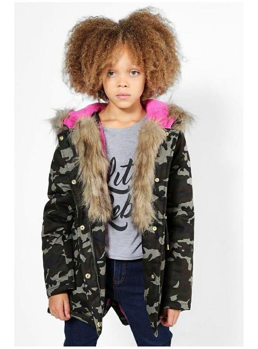 Girls Camo Padded Natural Faux Fur Parka